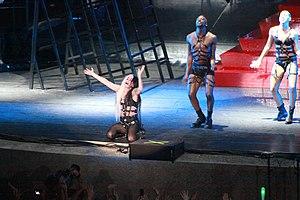 "Lady Gaga performing ""Judas"" on a 20..."