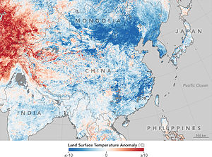 January 2016 East Asia cold wave - Variation from average land surface temperatures between 17–24 January 2016