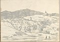 Landscape with a Towered Building and Domed Church (Smaller Italian Sketchbook, leaf 32 recto) MET DP269441.jpg