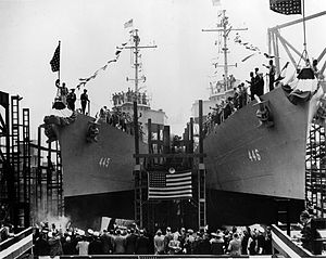 Federal Shipbuilding and Drydock Company - May 1942 launch of USS Fletcher (DD-445) and USS Radford (DD-446) at Federal. 2 of the 4 destroyers launched on May 4, 1942.