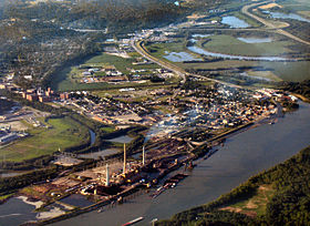 Lawrenceburg from the air, looking northwest. Tanner's Creek Generating Station is at bottom left,