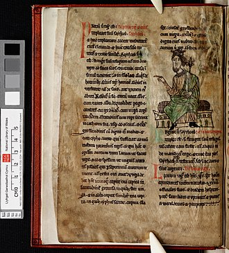 National Library of Wales - Laws of Hywel Dda (f.1.v) King Hywel