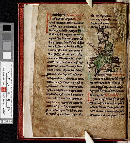 Laws of Hywel Dda (f.1.v) King Hywel