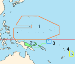 Territory of New Guinea - Mandates in the Pacific. 1. South Pacific Mandate 2. Mandate of New Guinea 3. Mandate of Nauru 4. Western Samoa Mandate