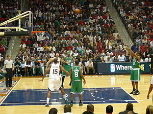 Leon Powe - Powe shoots a free throw in Game 4 of the 2008 NBA Playoffs against the Atlanta Hawks.