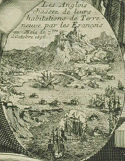 French forces sacking English settlements in Newfoundland in 1696 Les Anglais attaques par les Francais a Terre-Neuve en 1696.jpg