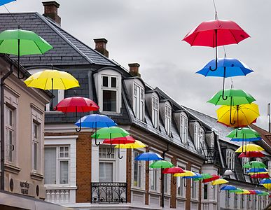 Umbrellas hanging over a street in Viborg, Denmark