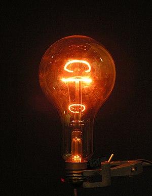 A lightbulb glowing in the dark