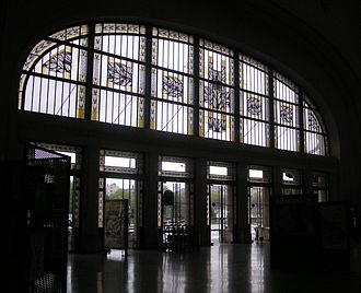 Came glasswork - Railway station showing fine Art Déco leadlighting with grisaille and yellow stain. Limoges, France.