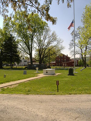 Linden Grove Cemetery - GAR Monument in Covington (front) and Veteran's Monument in Covington (back)