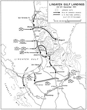 Lingayen Gulf - Lingayen Gulf landings and Japanese advance, 22–24 December 1941