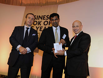 Raghuram Rajan - Rajan, with Lionel Barber (left) and Lloyd Blankfein (right), at the FT and Goldman Sachs Business Book of the Year Award ceremony in 2010.