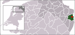 Maps of the Netherlands and Groningen with the location of Bellingwolde