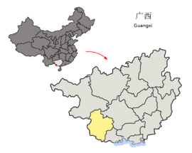 Location of Chongzuo Prefecture within Guangxi (China).png