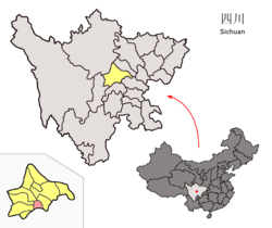 Location of Xinjin within Sichuan (China).png