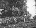 Loggers in the woods, Wynooche Timber Company, probably in Grays Harbor County, ca 1921 (KINSEY 1506).jpeg