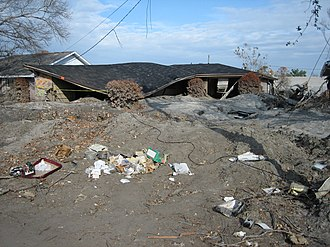 7th Ward of New Orleans - Ruined house in flood silt near the London Avenue Canal after the Hurricane Katrina levee failure disaster