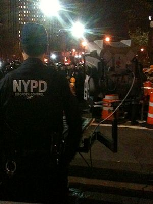 Sonic weapon - An NYPD officer stands ready with the LRAD 500X at an Occupy Wall Street protest on November 17, 2011 near the city hall