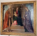 Lorenzo costa, madonna in trono tra i ss. petronio e tecla, 1496.jpg