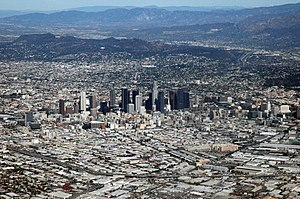 Climate of Los Angeles - Downtown Los Angeles on a typically sunny day, but with unusual atmospheric clarity.