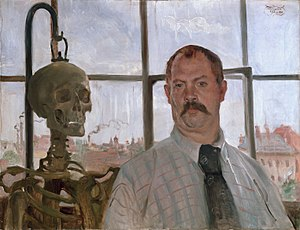 Lovis Corinth - Self-portrait with Skeleton, 1896, oil on canvas, 66 x 86 cm, Städtische Galerie im Lenbachhaus