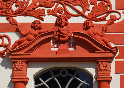 Luckau (Łukow) - building on the market square (Am Markt 30), detail
