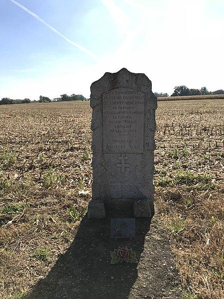 Mémorial de la Résistance du 1er septembre 1944, commune de Laiz, Route de Thoissey, dans l'Ain en France.
