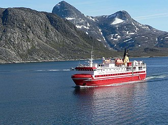 Arctic Umiaq Line operates passenger and freight services by sea across Greenland. M-S Sarfaq Ittuk.jpg