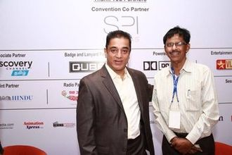 Kamal Haasan - Kamal with social activist M. B. Nirmal (right) in Chennai