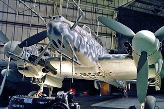 Lichtenstein radar - A Bf 110 G-4 in the RAF Museum in Hendon, with second-generation FuG 220 Hirschgeweih antennas, without the short-range FuG 202