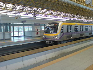 Manila Light Rail Transit System - A LRT-2 train at J. Ruiz station