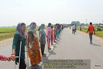 Madheshi people - Madheshi people forming a human chain
