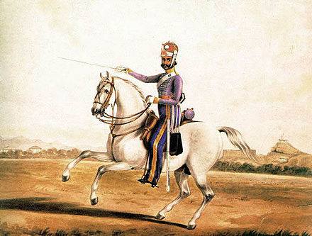 A painting showing a sowar of the 6th Madras Light Cavalry, circa 1845. Madras cavalry.jpg