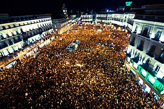 15 October 2011 global protests - Puerta del Sol square in Madrid after the demonstration on 15 October
