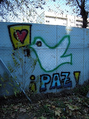 Peace dove graffiti in Madrid, Spain, with the...