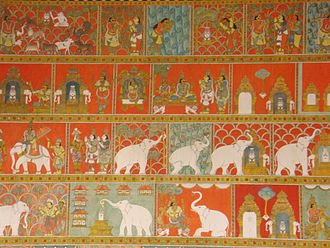 Meenakshi Temple - Temple wall painting depicting its founding legend