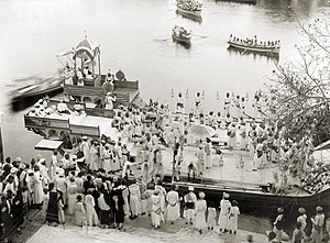 History of Udaipur - Maharaja Fateh Singh of Udaipur on royal barge, c. 1884-1930