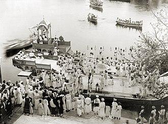Fateh Singh of Udaipur and Mewar - Image: Maharaja Fateh Singh of Udaipur, (r.1884 1930), on royal barge, Udaipur