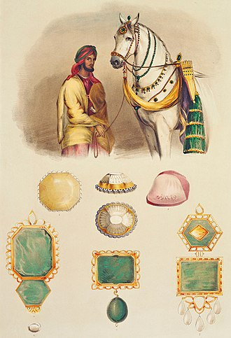 Koh-i-Noor - One of Ranjit Singh's favourite horses with the head of his stables. His jewels are shown, to scale, including the Koh-i-Noor (top centre).