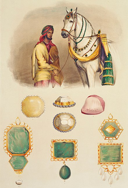 A lithograph by Emily Eden showing one of the favourite horses of Maharaja Ranjit Singh and his collection of jewels, including the Koh-i-Noor Maharaja Ranjit singh's treasure.jpg