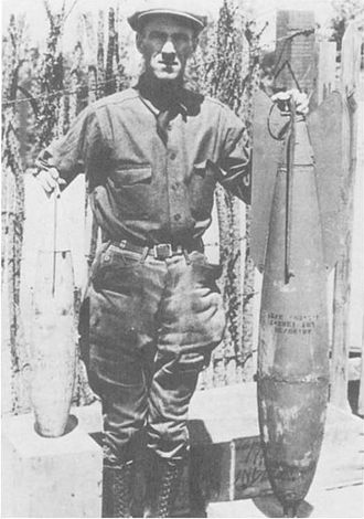 Siege of Naco - Image: Major Rayma L. Andrews With Aerial Bombs Naco Sonora 1929