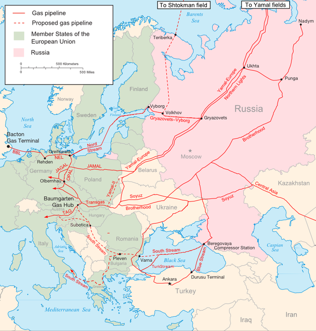 Hlavné ruské plynovody du Európy. Zdroj: www.harriman.columbia.edu