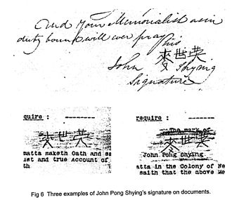 John Shying - Three examples of Mak's signature