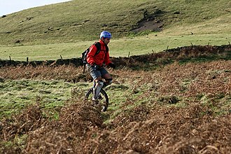 Mountain unicycling - Mountain unicyclist in England (Roseberry Topping)