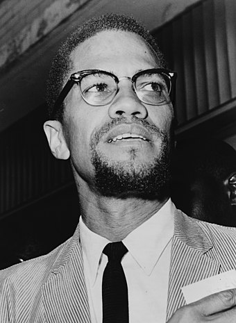 Malcolm X, after his 1964 pilgrimage to Mecca Malcolm X NYWTS 4.jpg