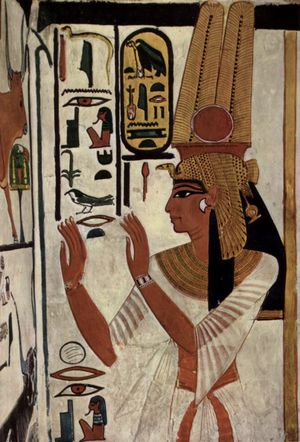 Nefertari - Tomb wall depicting Queen Nefertari, the great royal wife of Pharaoh Rameses II