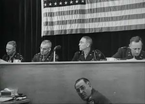 Malmedy massacre trial - General Josiah Dalby (with head turned) presides over the Malmedy massacre trial at Dachau