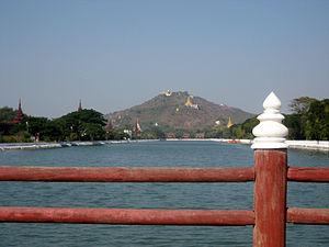 Mandalay Hill from East Moat Bridge