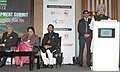 Manmohan Singh addressing the 12th Delhi Sustainable Development Summit, in New Delhi. The Union Minister for New and Renewable Energy, Dr. Farooq Abdullah.jpg