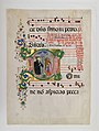 Manuscript Leaf with Saint Benedict Resuscitating a Boy in an Initial D, from an Antiphonary MET DP164997.jpg